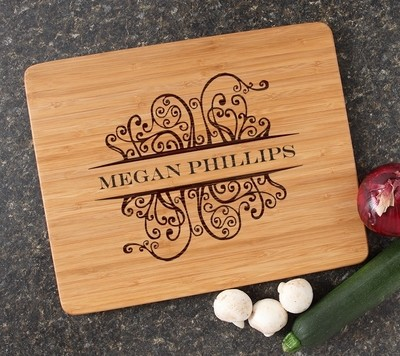 Engraved Bamboo Cutting Board Personalized 15x12 DESIGN 4