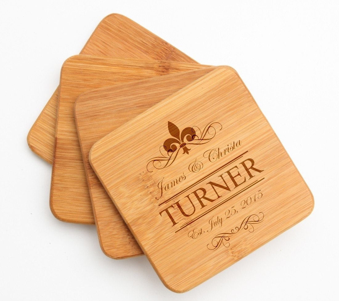 Personalized Bamboo Coasters Engraved Bamboo Coaster Set DESIGN 20