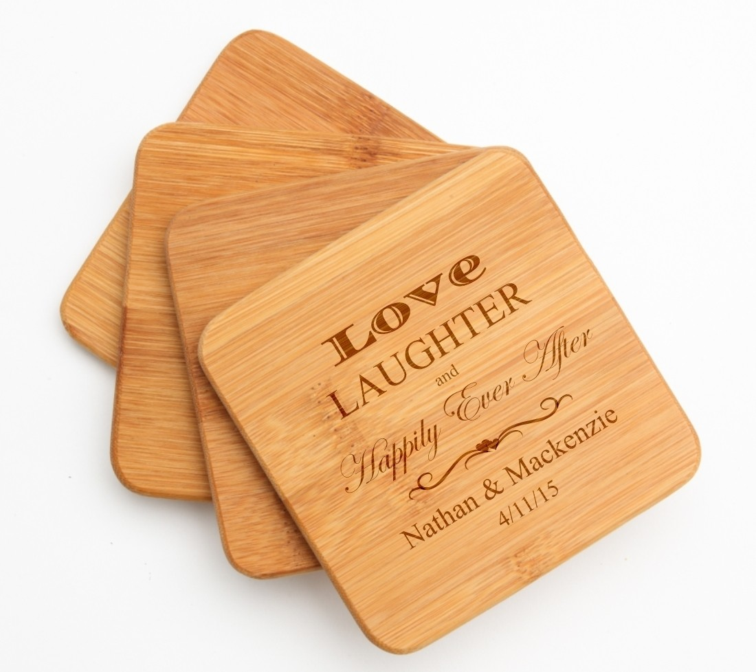 Personalized Bamboo Coasters Engraved Bamboo Coaster Set DESIGN 26