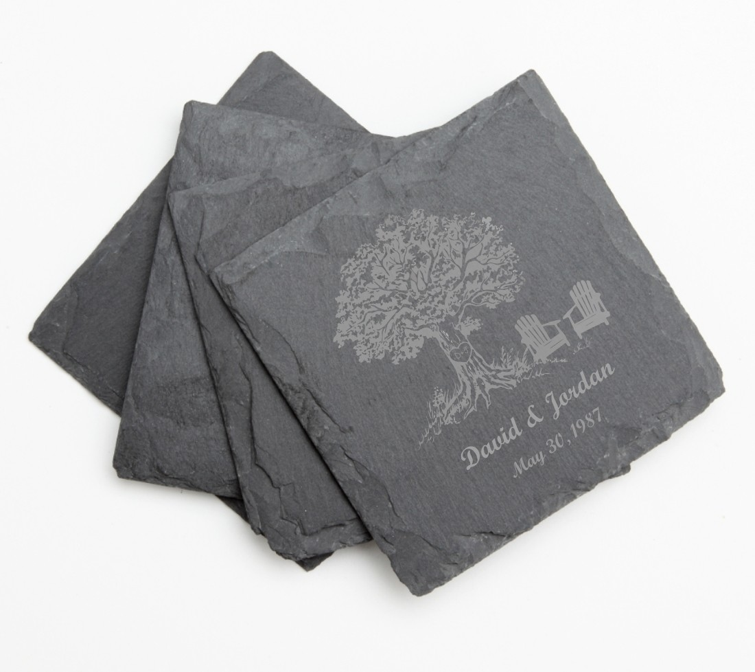 Personalized Slate Coasters Engraved Slate Coaster Set DESIGN 31