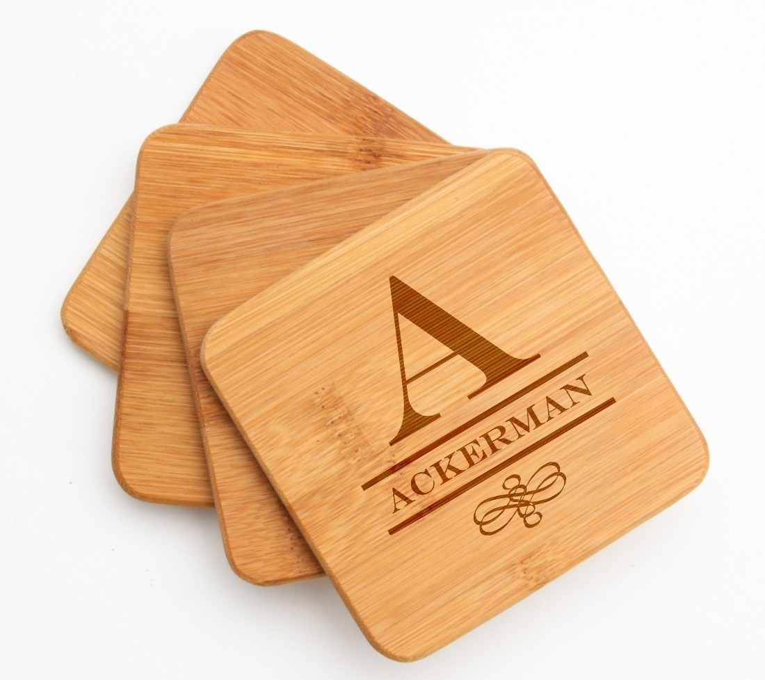 Personalized Bamboo Coasters Engraved Bamboo Coaster Set DESIGN 12