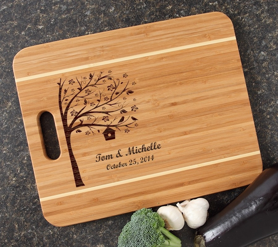 Personalized Cutting Board Engraved 15x12 Handle DESIGN 27
