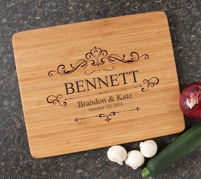 Personalized Cutting Board Engraved 15x12 Handle DESIGN 35