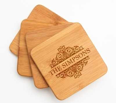 Personalized Bamboo Coasters Engraved Bamboo Coaster Set DESIGN 39