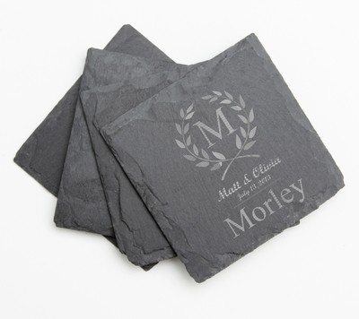 Personalized Slate Coasters Engraved Slate Coaster Set DESIGN 6