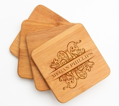 Personalized Bamboo Coasters Engraved Bamboo Coaster Set DESIGN 4