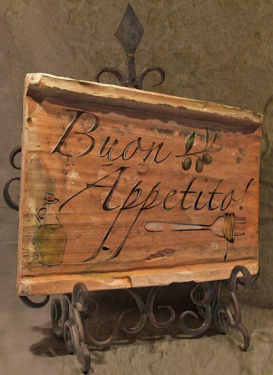 Painted Antique Tile - Buon Appetito