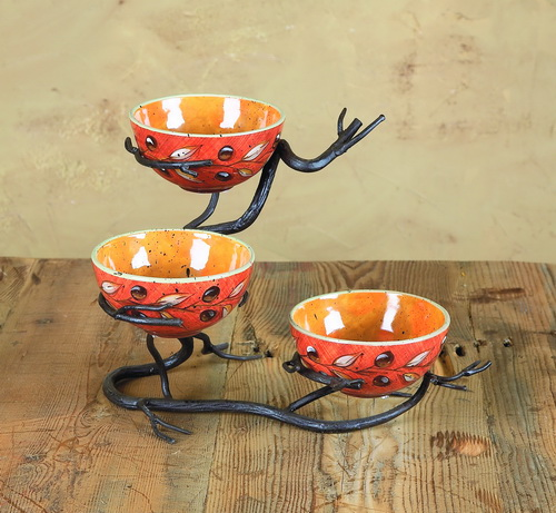 Twig Triple Bowl Server
