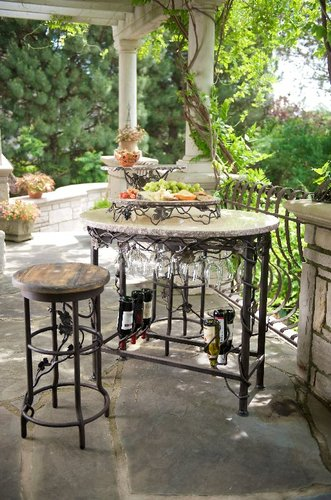 Vineyard Oval Wine Tasting Table With Two Bar Stools