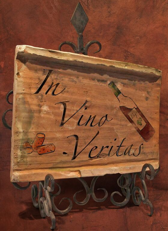 Painted Antique Tile - In Vino Veritas