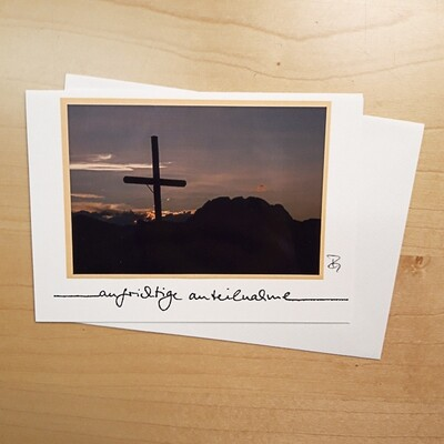 Fotokarte Trauer Kreuz Sonnenuntergang C6