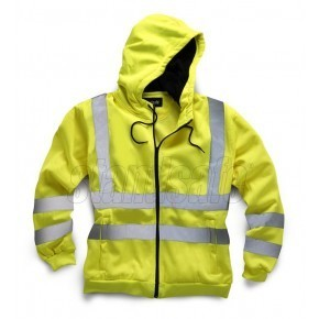 Hi Vis Zipped Front Hooded Sweatshirt