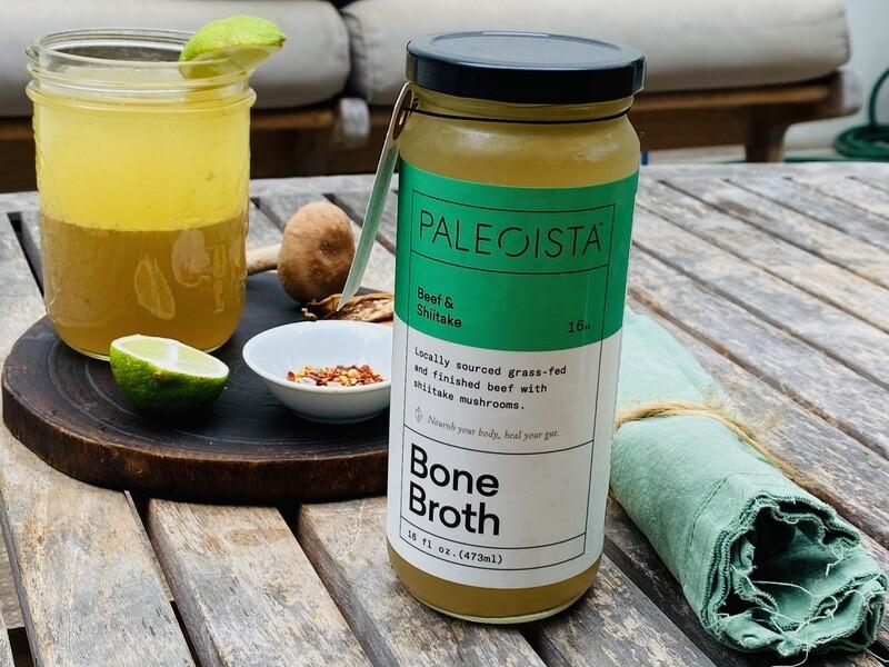 16 Oz Organic Grass-Fed + Finished Beef Bone Broth with Shiitake Mushroom