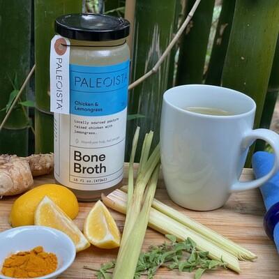 16 oz Organic, Pasture-Raised Chicken Bone Broth with Lemongrass