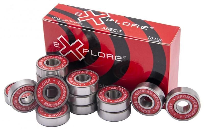 Хромированные подшипники EXPLORE ABEC-7 для роликовых коньков, скейтов и самокатов
