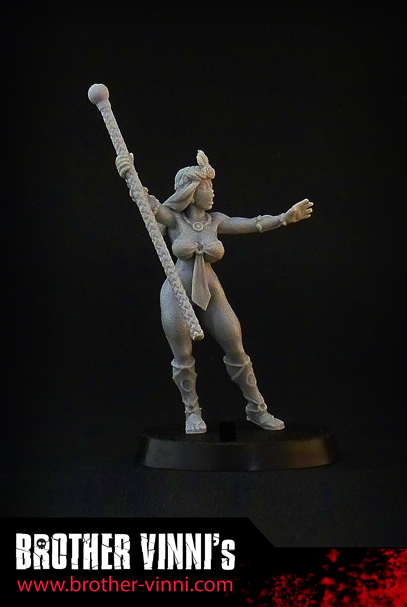naked female girl sorceress 28 mm wargame miniature by brother vinni