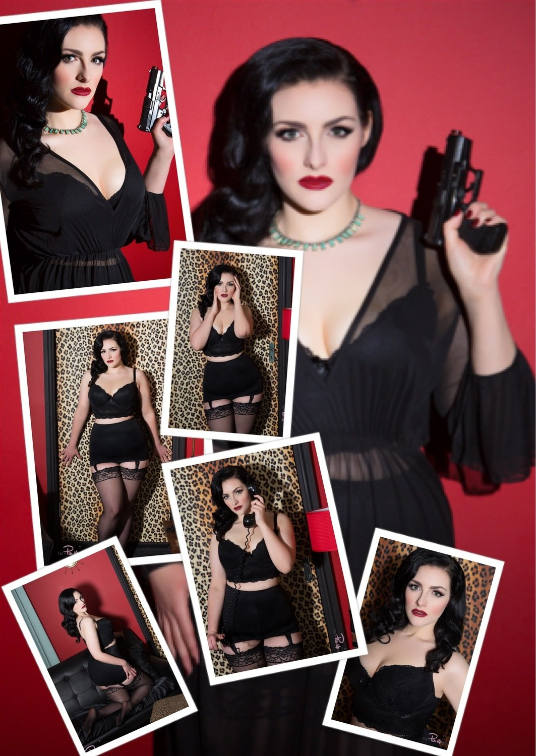(7 Pinup Prints) Sophia Black Red bundle