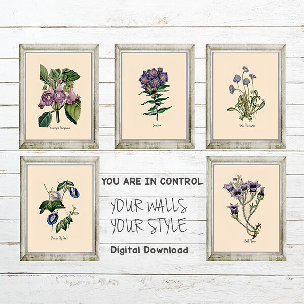 Garden Florals in Shades of Blue and Purple Digital Download Prints Up To 11x14