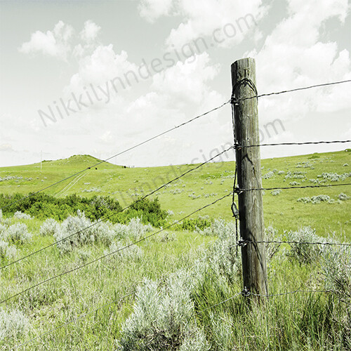 Farmhouse Rural Fence Post Square Print