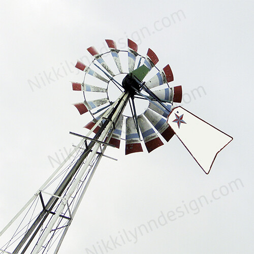 Farmhouse Rural Windmill Square Print