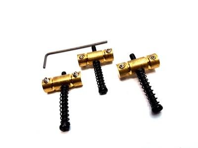 3 pcs Brass Telecaster Bridge Saddle Black Screws & Spring for Fender Vintage Tele Guitar