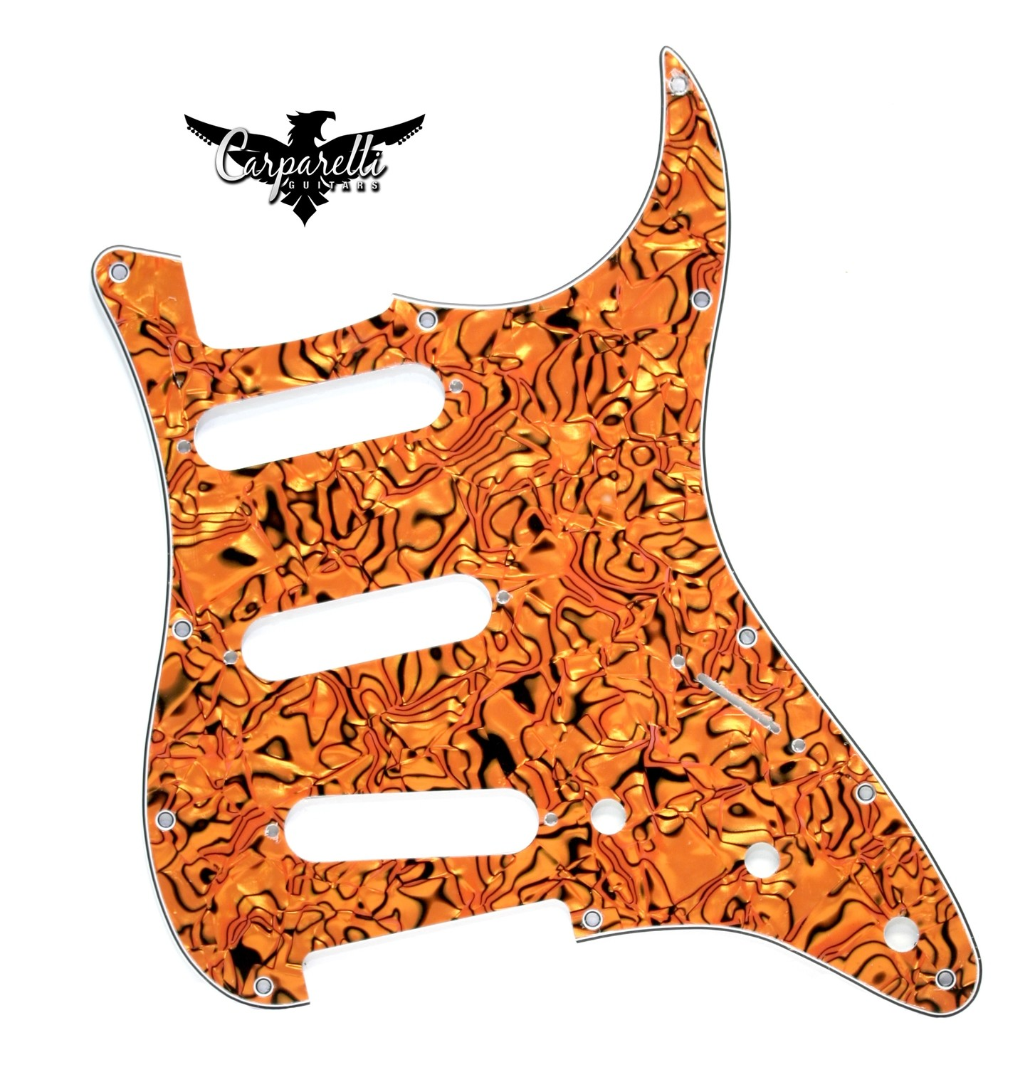 Carparelli SSS Strat® Pickguard 11 Holes 4 Play Tiger Swirl