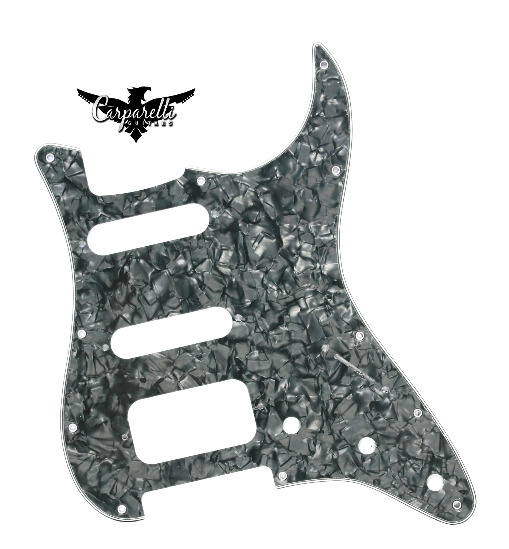 Brio HSS Strat® Pickguard 11 Holes 4 Ply Pearloid Black