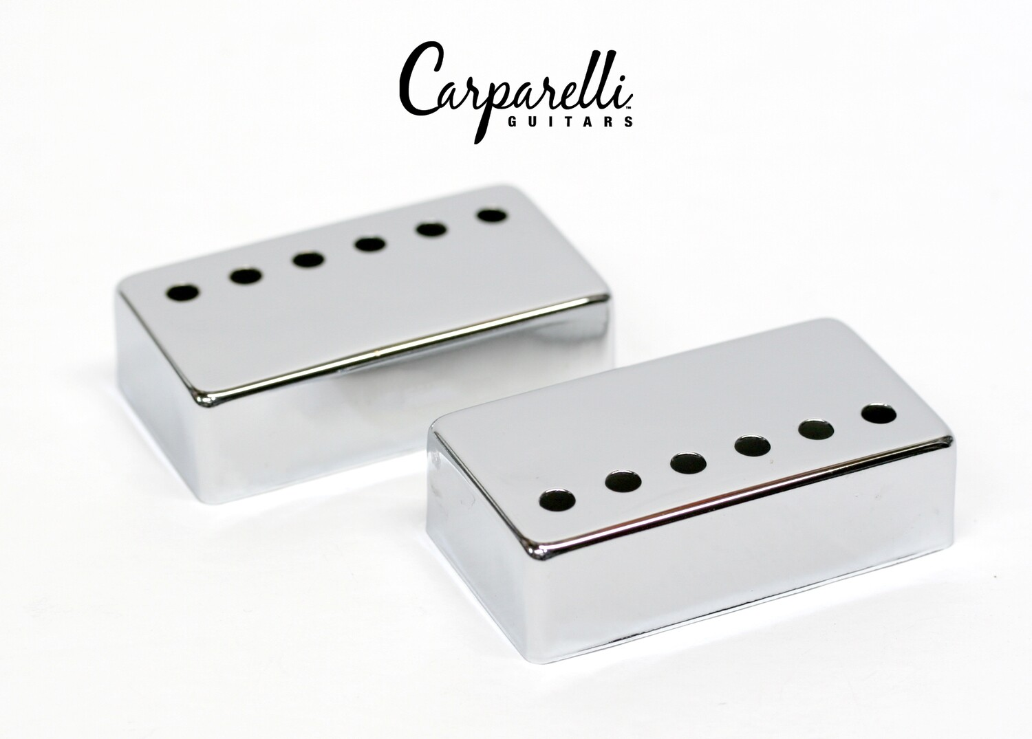 Carparelli Metal Humbucker Cover 50mm Pair Set Chrome