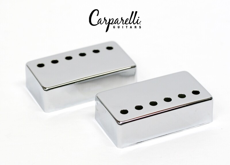 Carparelli Metal Humbucker Cover 50/52mm Pair Set Chrome