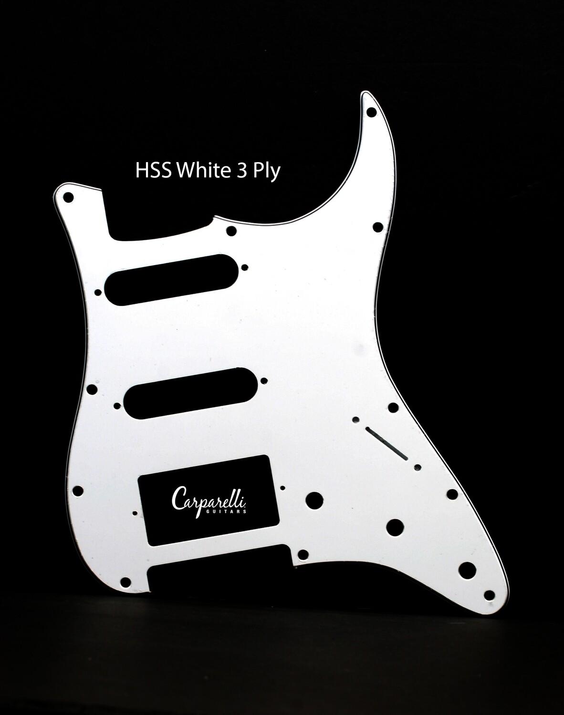 Brio HSS Strat® Pickguard 11 Holes WHITE 3 Ply