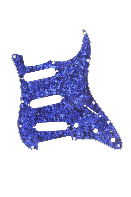 Brio SSS Strat® Pickguard 11 Holes 4 Ply Blue Pearloid