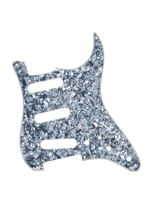 Brio SSS Strat® Pickguard 11 Holes 4 Ply Grey Pearloid