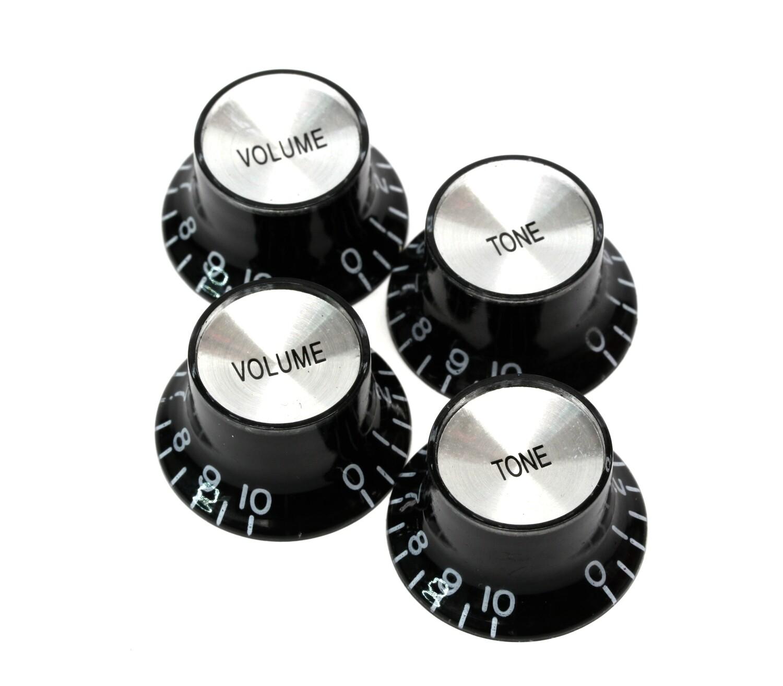 Brio Set of 4 Reflector Knobs Black w/Silver Top