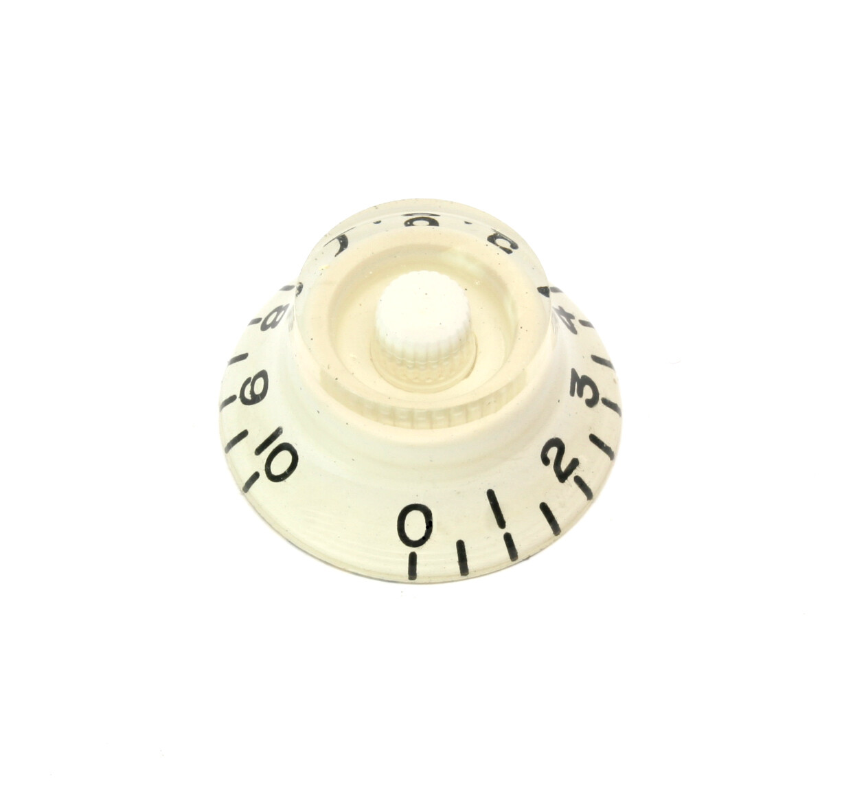White Bell knob, vintage style numbers, fits USA split shaft pots.