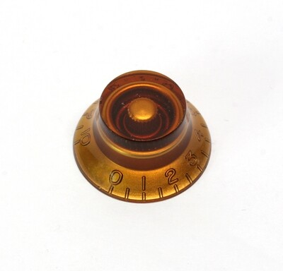 Amber Bell knob, vintage style numbers, fits USA split shaft pots.