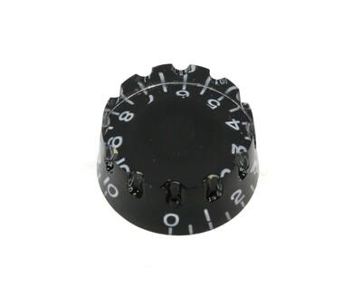 Black Speed knobs *Knurled vintage style numbers, fits USA split shaft pots.