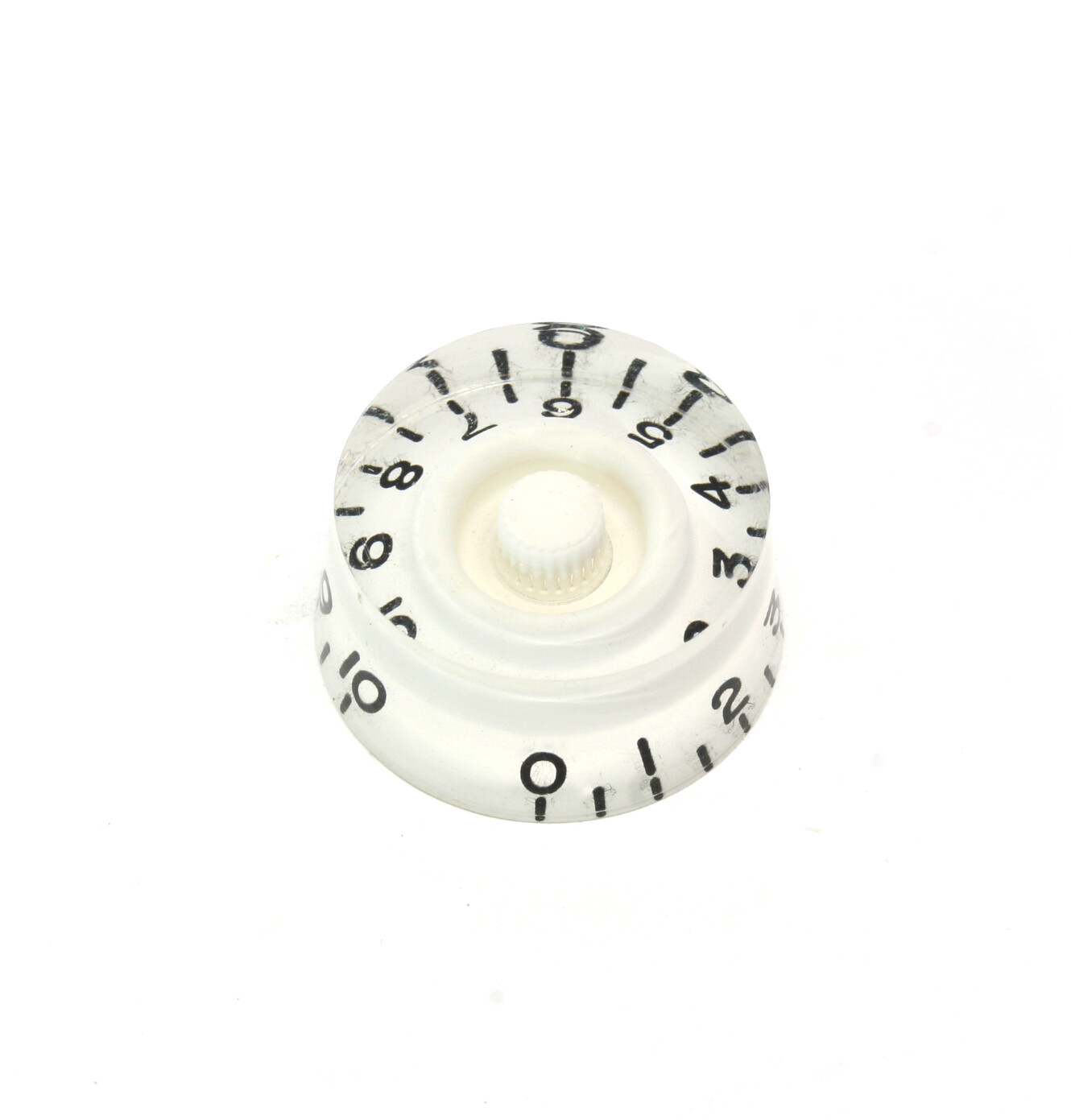 White Speed knobs vintage style numbers, fits USA split shaft pots.