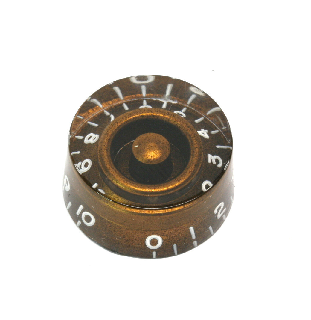 1 x Chocolate Brown Speed knob vintage style numbers, fits USA split shaft pots.