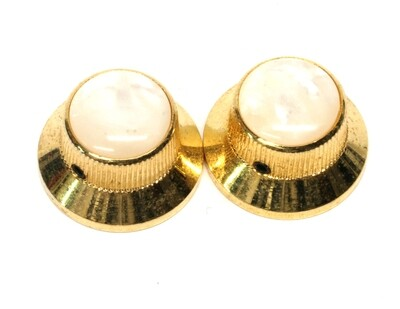 2 Gold Metal Bell knobs US size fit. Set Screw