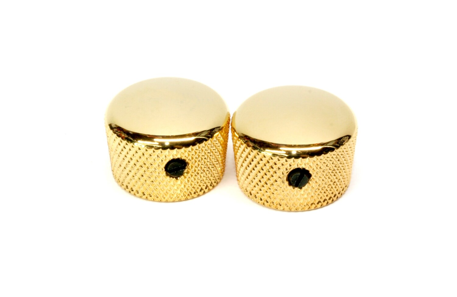 "Gold Cupcake metal knobs (2), with set screw, fits USA solid shaft pots.3/4"" wide."