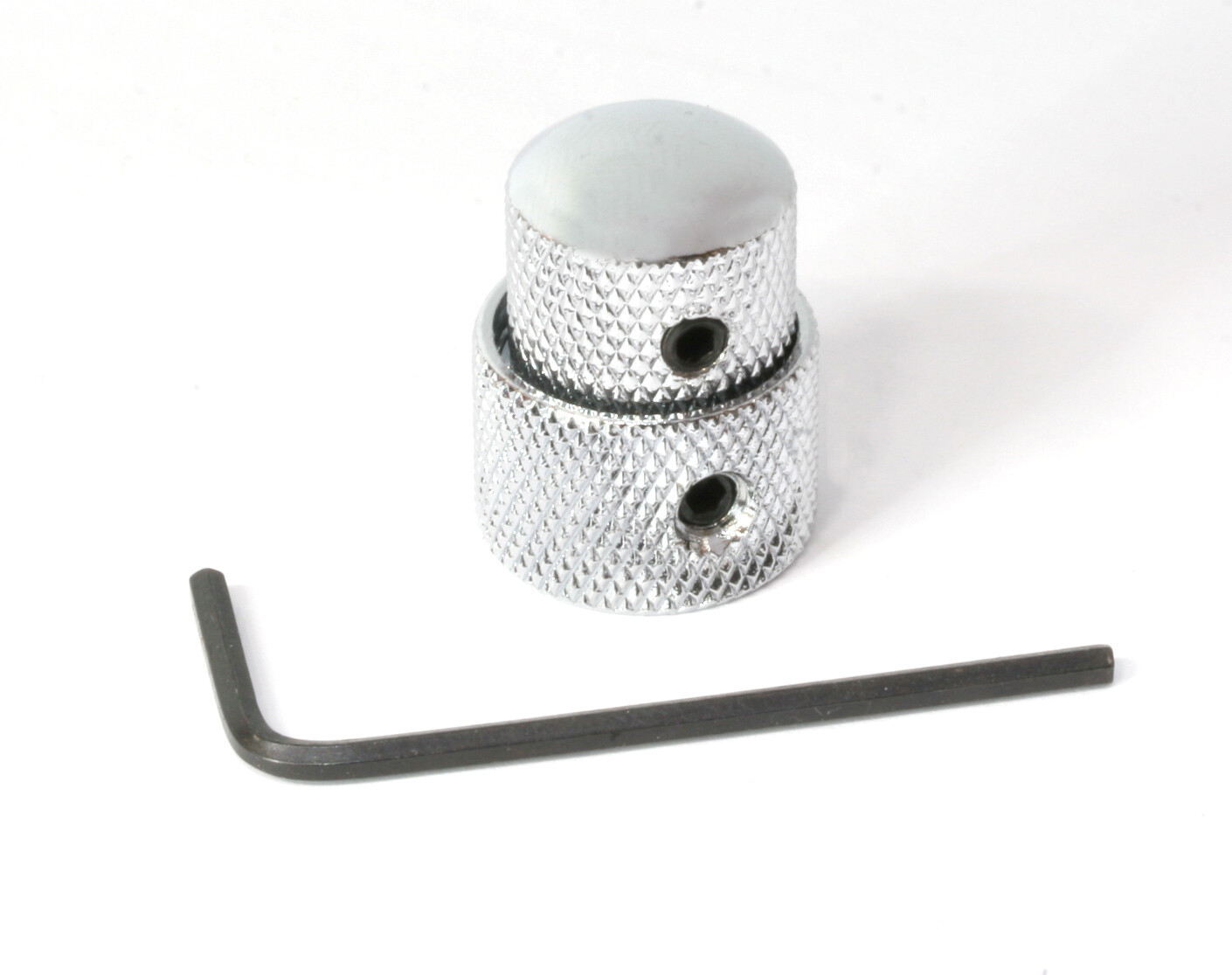 Chrome Concentric stacked knob set, with set screws, fits Metric