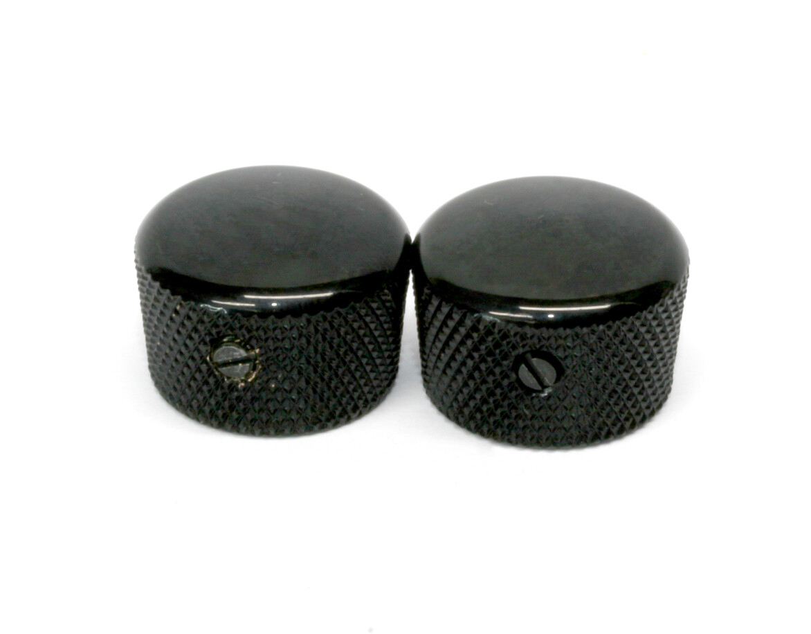 """Black Cupcake metal knobs (2), with set screw, fits USA solid shaft pots.3/4"""" wide."""