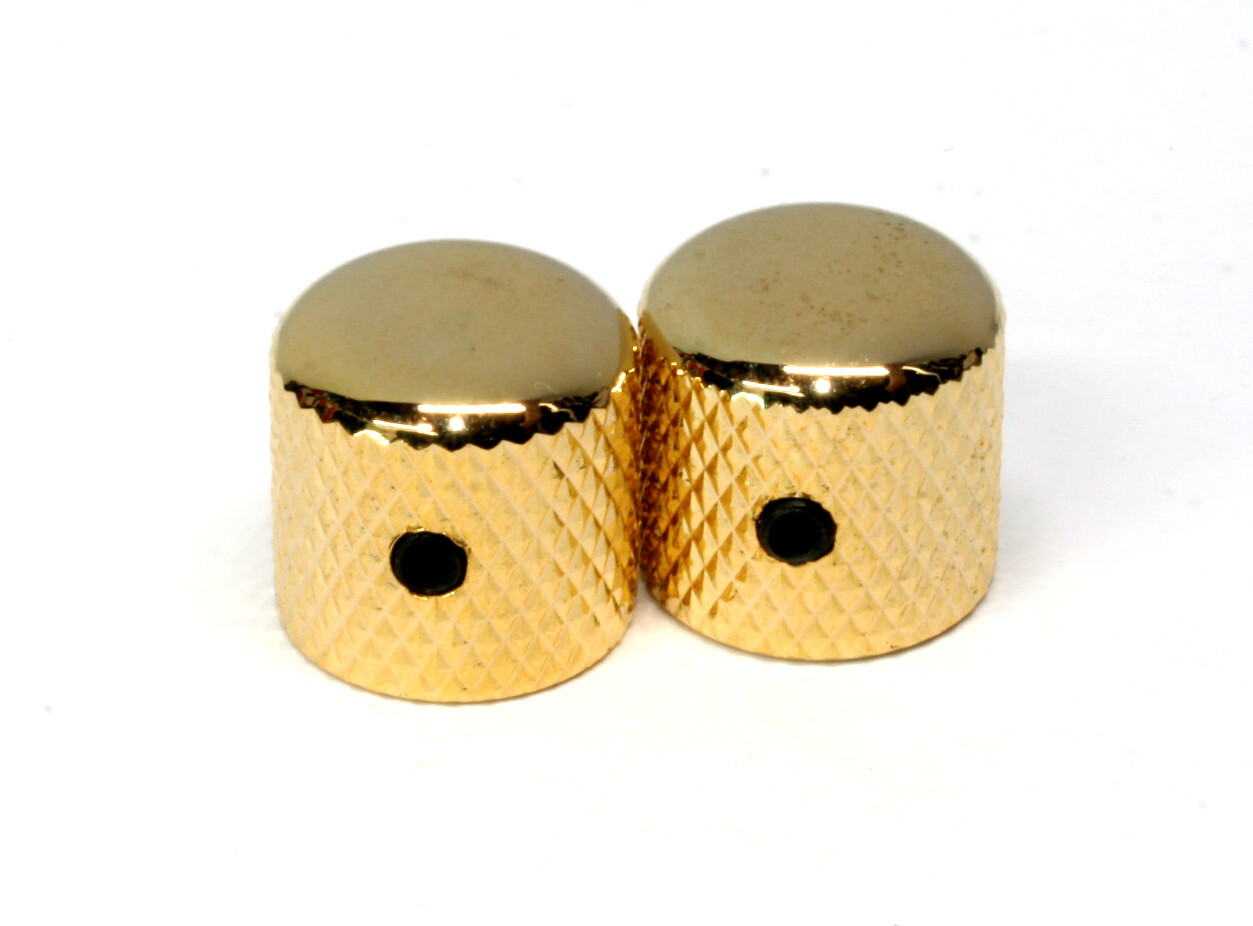 "Gold Dome knobs (2), Gotoh, with set screw, fits USA split shaft pots, 23/32"" tall x 3/4"" wide."
