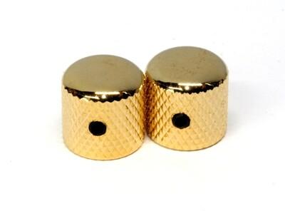 Gold Dome knobs (2), Gotoh, with set screw, fits USA split shaft pots, 23/32