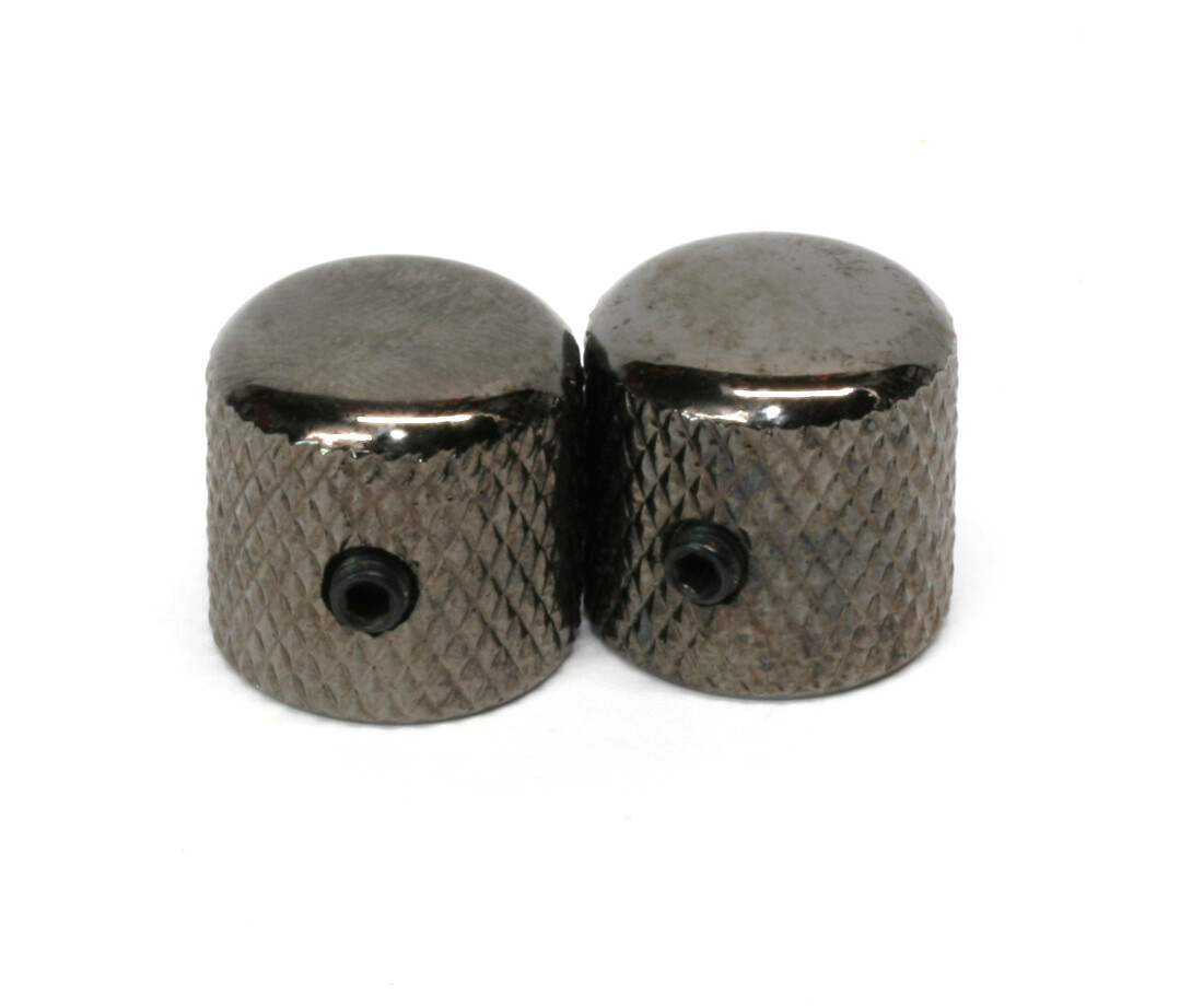 "Black Chrome Dome knobs (2), Gotoh, with set screw, fits USA split shaft pots, 23/32"" tall x 3/4"" wide."