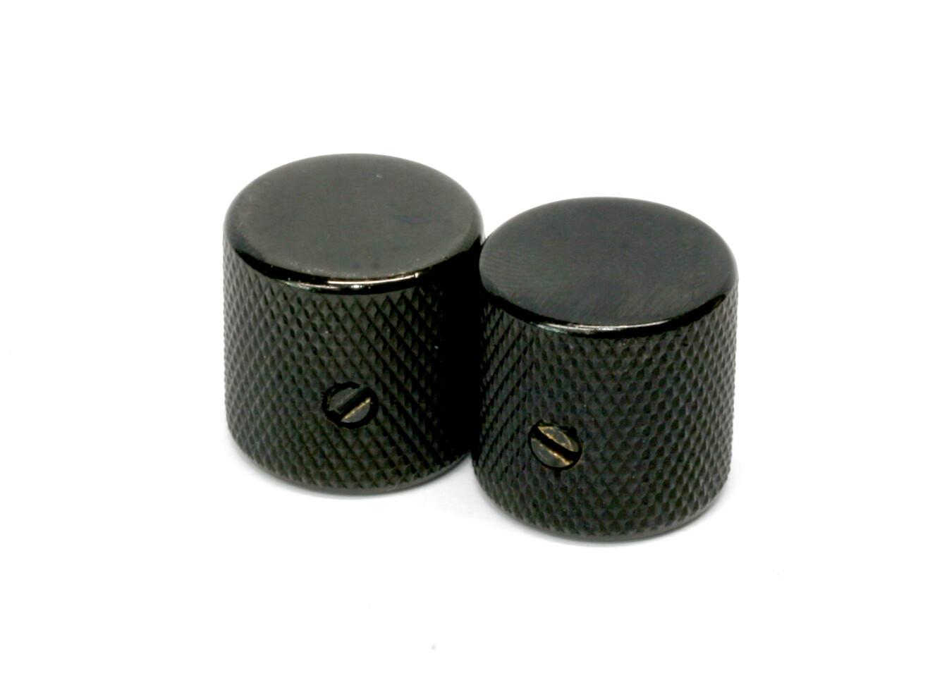 Black Barrel knobs (2), Gotoh, with set screw, fits USA split shaft pots