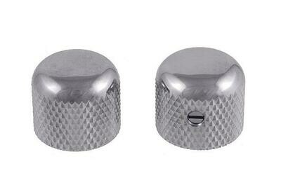 Chrome Short dome knobs (2), Gotoh, with set screw, fits USA split shaft pots, 5/8