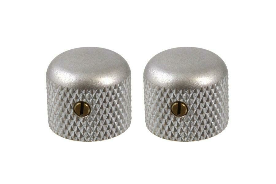 "Aged Short dome knobs (2), Gotoh, with set screw, fits USA split shaft pots, 5/8"" tall x 3/4"" wide."
