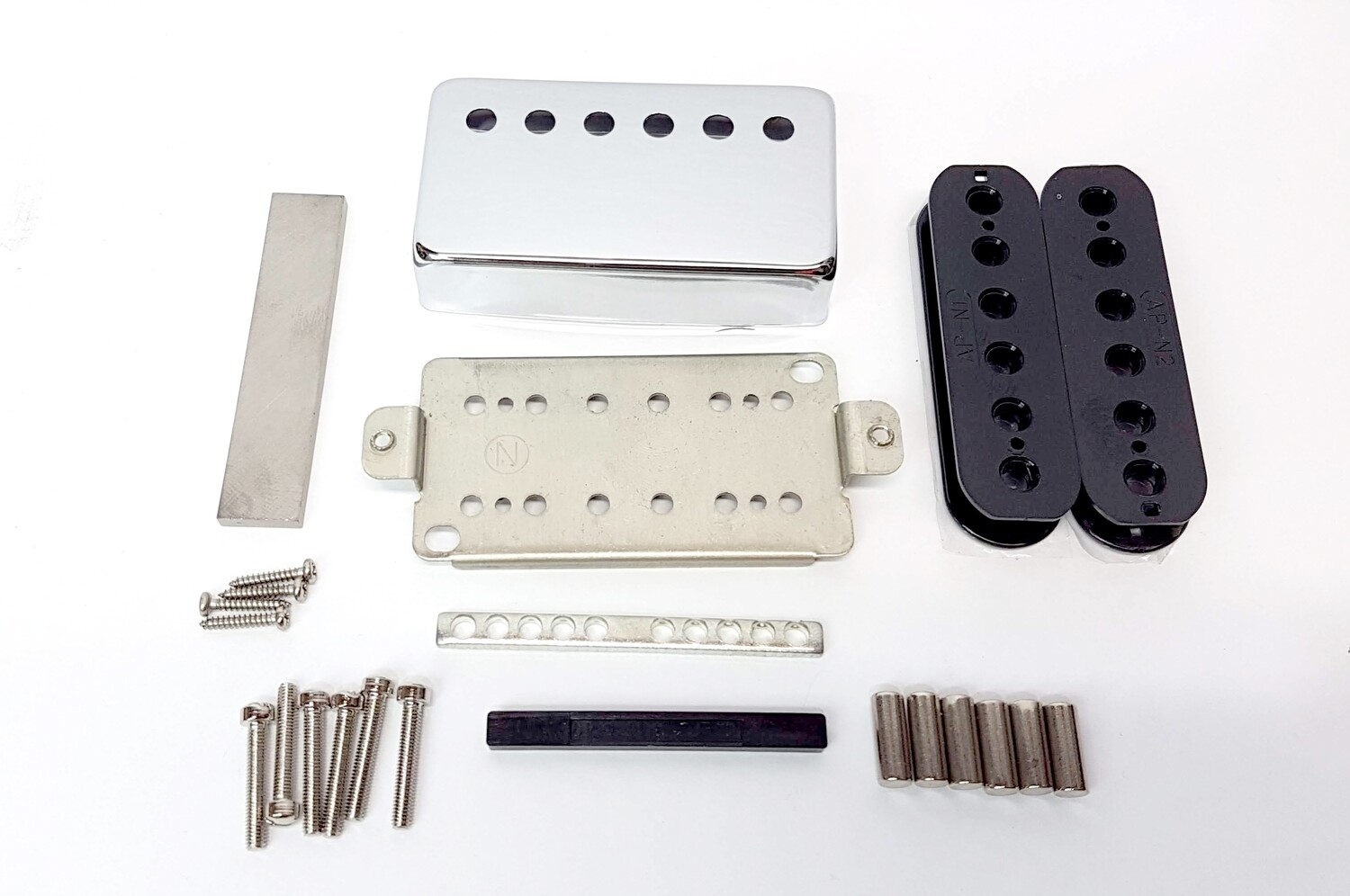 Pickup Kit - Nickel Silver Cover & Baseplate 52mm Humbucker Alnico 5