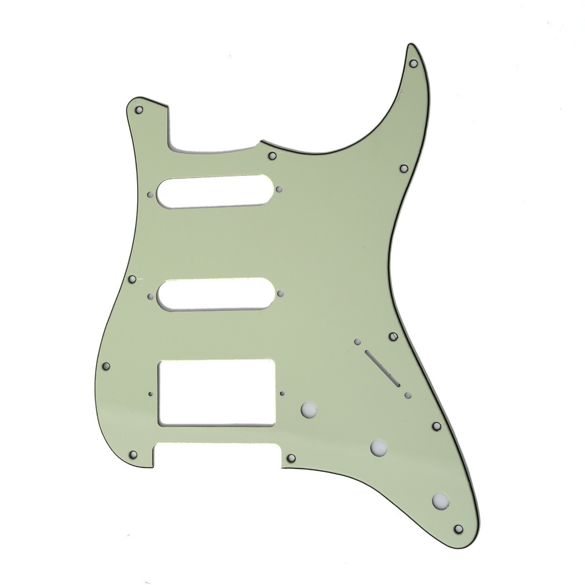 Brio 11 Hole HSS Strat® Pickguard for Fender US/Mex Made Standard Stratocaster Modern Style 3 Ply Mint Green